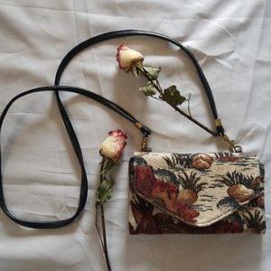 Handbags - Tapestry Fabric Crossbody Wallet Purse